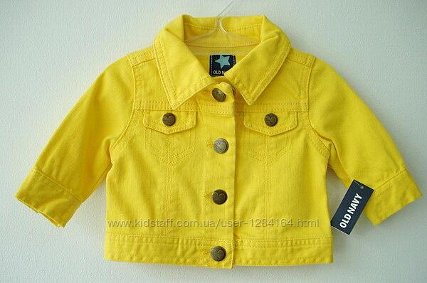 Дитяча джинсова жовта куртка дівчинці 6-12міс 64-74см Old Navy