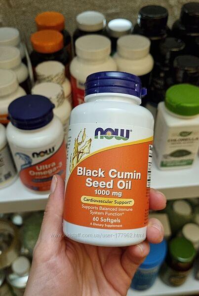 Now Foods, Масло семян черного тмина, 1000 мг, 60 капсул