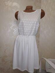 Белое лёгкое платье с прошвой р.12 м, l