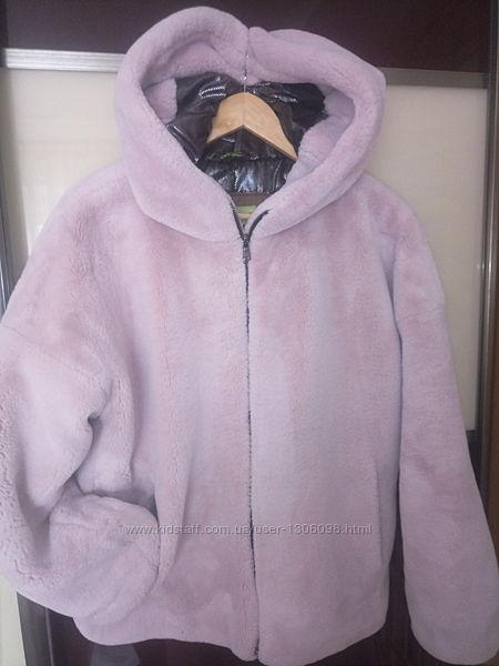 Полушубок, шуба, с капюшоном, размер 164, цвет розовый .