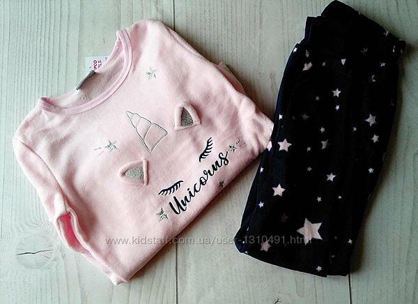 Теплая флисовая пижама для девочки