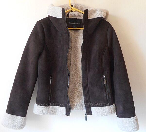 Женская коричневая замшевая дубленка авиатор куртка  b by bernardo р. m