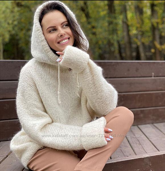 Вязаное худи альпака.