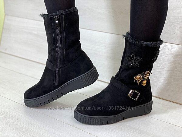 Ботинки демисезонные женские черные замшевые  не дорого  36,38рр полномер