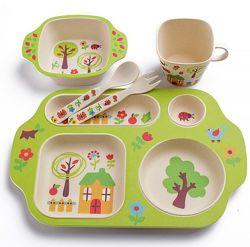 Набор детской посуды экоSupretto из бамбукового волокна Лесной Морской 5пр