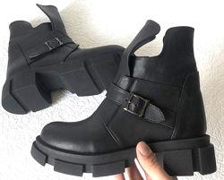 Diesel чёрные полуботинки, Женские зимние кожаные ботинки низкий ход на мас