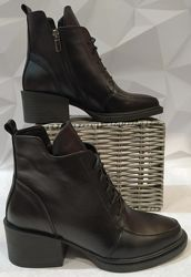 Dolce Gabbana Женские кожаные деми ботинки, полуботинки на шнуровке, кожа
