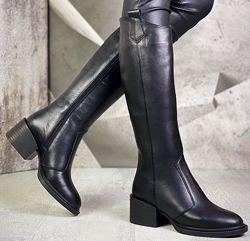 Диор Сапоги кожаные зимние женские, трубы, на невысоком устойчивом каблук