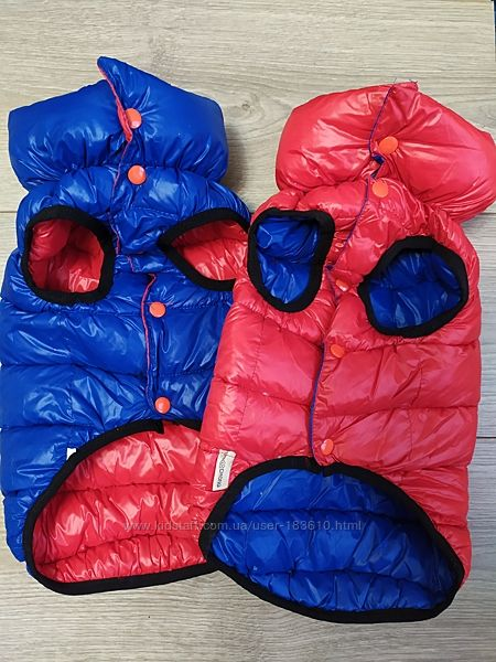 Куртка жилетка двусторонняя красный синий