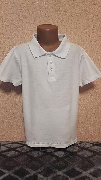Футболка поло белая 100 хлопок для мальчика 11-12лет, рост 146-152см