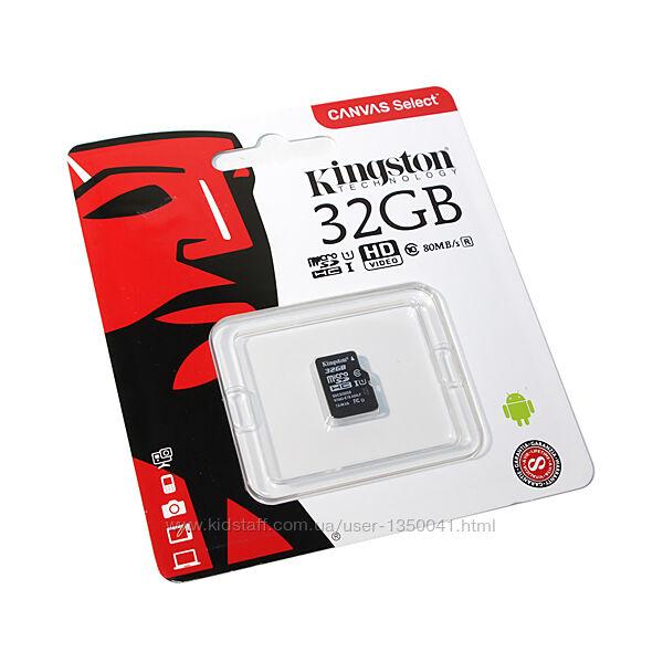 Карта памяти Kingston micro SDHC 32 GB Class 10 микро сд флешка