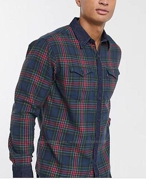 Рубашка в клетку с джинсовой отделкой