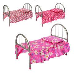 Кровать для куклы железная с постельным бельем