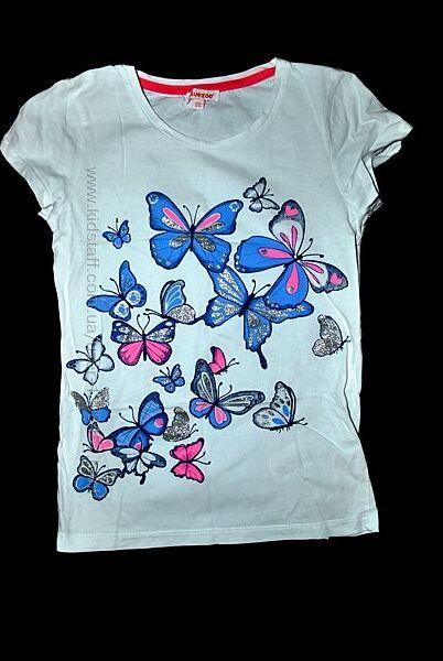 Футболка DEBENHAMS Турция белая на девочку 11 12 лет бабочки яркая