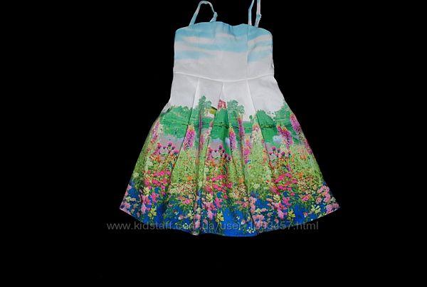 Платье на девочку 11 лет бренд Monsoon летнее яркое с рисунком белое
