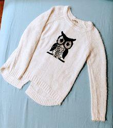 Теплый свитерок с совой для девочки 12-14 лет или XS 146-156 см