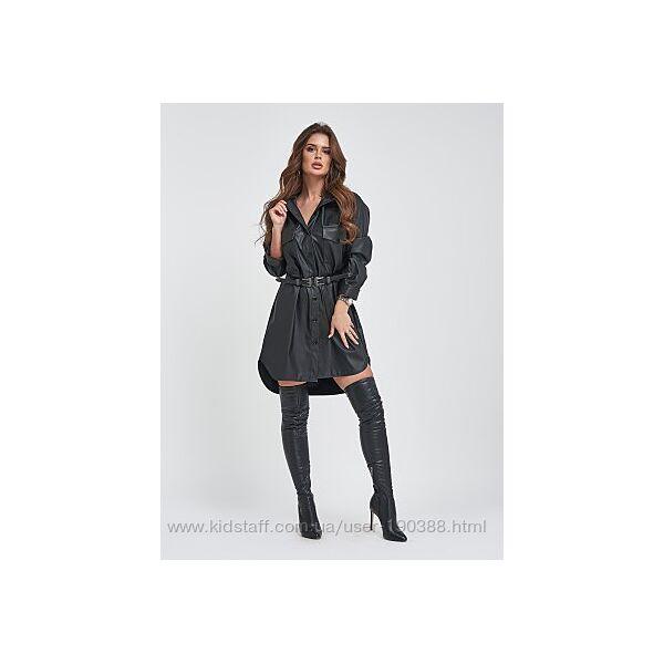 Черное платье-рубашка из мягкой эко-кожи