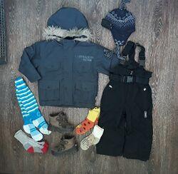 Мембранная куртка, комбинезон, ботинки Lassie, краги, носки, шапка 3-4 года