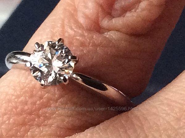 Кольцо белого золота с бриллиантом 1 карат