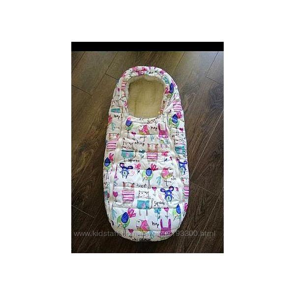 Меховой конверт -кокон чехол тёплый для младенцев