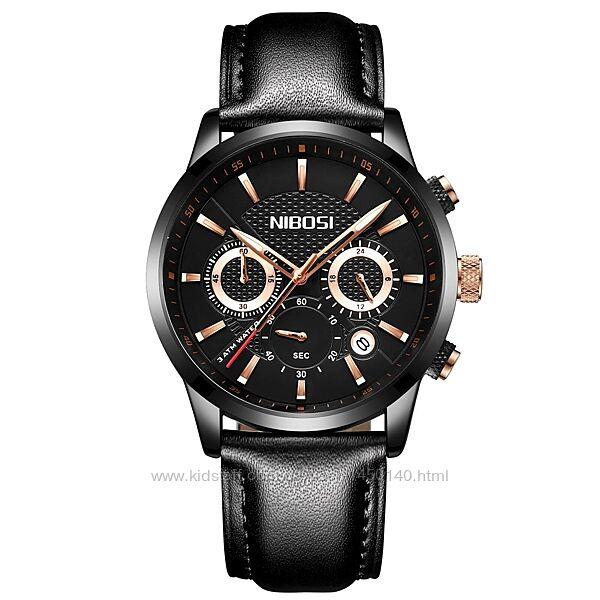 Мужские часы Nibosi 2313 Black с кварцевым механизмом