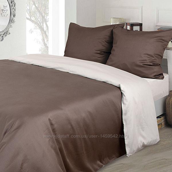 Комплект постельного белья сатин коричневый