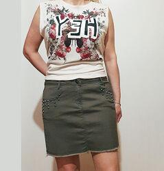 Джинсовая зеленая короткая юбка на бедра 100-102 см хлопок