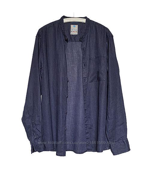 Льняная мужская синяя рубашка лен с длинным рукавом XL