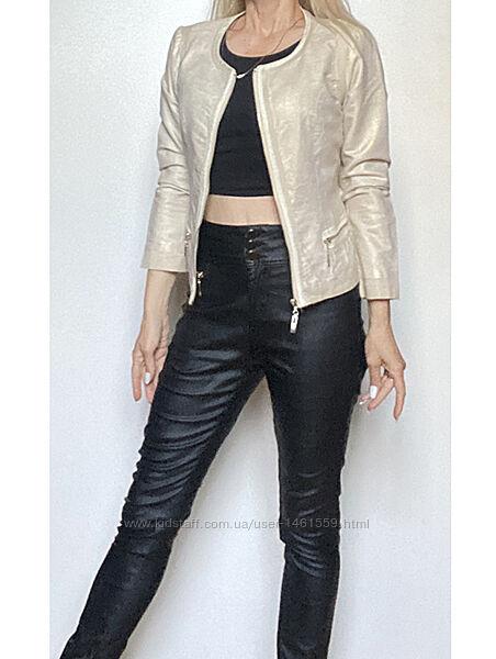Золотистая летняя короткая ветровка куртка хлопок лен eur 38