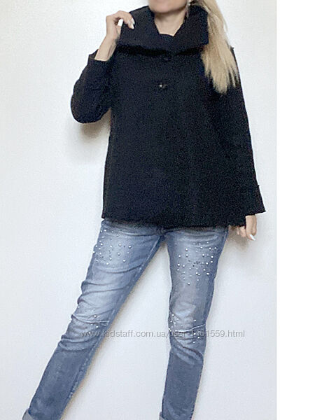 Шерстяное полупальто шерсть короткое черное женское пальто xxl