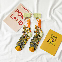 Носочки для девушек капроновые прозрачные с рисунком носки