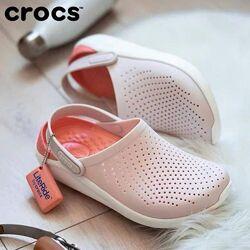 Женские пудровые кроксы лайтрайд Crocs LiteRide оригинал, большой выбор