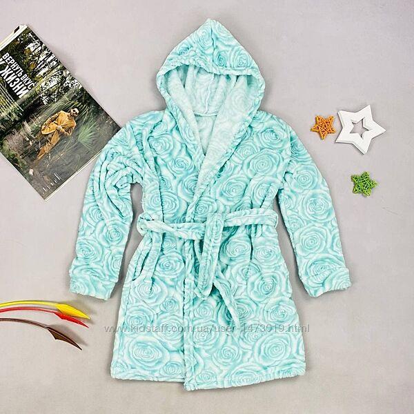 Детский халат с карманами и капюшоном