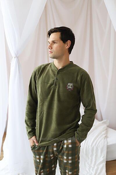 Мужская пижама для дома и сна тёплый костюм флис