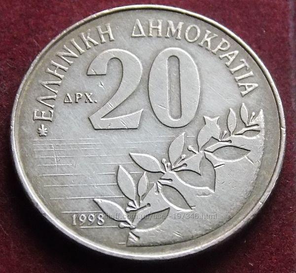 Монета Греции 20 драхм.