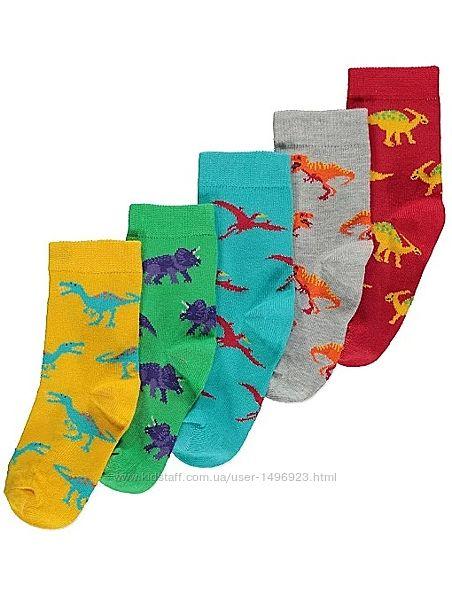 Носки детские на мальчика george динозавр набор 5 пар размер 19-26 200711