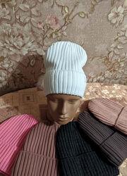 Женская вязаная шапка на флисе, 52-56р
