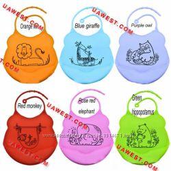 Детский фартук для кормления малышей, силикон, слюнявчик