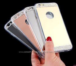 Зеркальный чехол с камнями iPhone 4 S 5 5S 6 6S 6plus 7 7plus 8 8plus