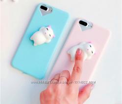 Чехол с белым мягким котом для iphone 5 5S 6 6S 7 7pl 8 8pl  анти стресс