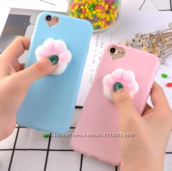 Розовый чехол с белым мягкой лапкой для айфон 5 5s 6 6s анти стресс