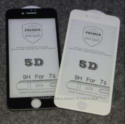 Защитное стекло 5D для iPhone 6 6s 6pl 7 7pl 8 8pl белое или черное против