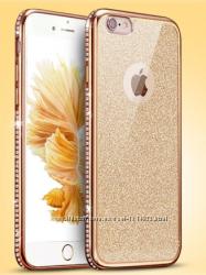 Двойной золотойпрозрачный силиконовый чехол iphone 6 6s золотой ободок