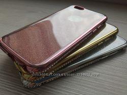Двойной мерцающий силиконовый чехол и камни для iPhone 6 6s три цвета