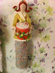 тильда банный ангел  хранительница ватных палочек и дисков