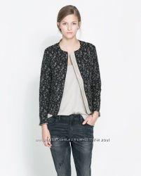жаккардовый блейзер, пиджак, жакет - Zara basic - размер S - наш 40р.