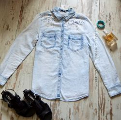 Стильная рубашка джинсовая с камнями Denim Co