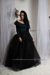 черная юбка пачка в пол
