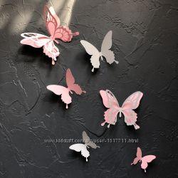 Сильвия, 50 шт. Объемные бабочки метелики 3д на стену, декор из картона