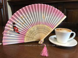 Веер женский шелковый Китайский бамбук Японский шелк